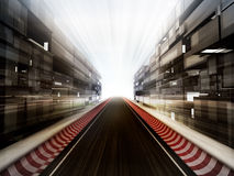 Racetrack in glass bussiness city background Stock Photo