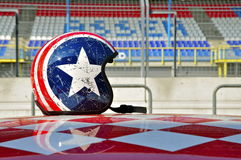 Racetrack Pitlane: Helmet on Car Roof Royalty Free Stock Images