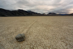 The Racetrack Playa in Death Valley National Park. Rock and rock trail at the Racetrack Playa, Death Valley National Park, California royalty free stock photos