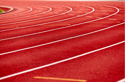 Racetrack in red. Close up , low angle Royalty Free Stock Photos