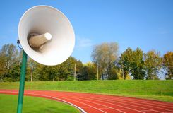 Racetrack for runners, with speaker Royalty Free Stock Photography