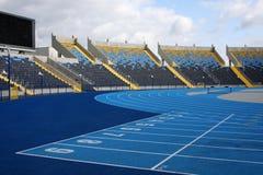 Racetrack startline. Racetrack and bleachers in athletic stadium in Bydgoszcz Stock Photos