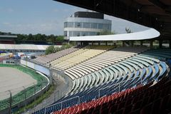 Racetrack tribune in sunny ambiance Stock Images