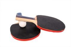 racets de ping-pong de bille blancs Photographie stock