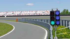 Raceway Traffic lights on pit line. Green Raceway Traffic lights on pit line stock video footage