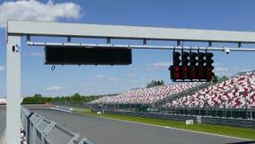 Raceway traffic lights on pit line. Red raceway traffic lights on pit line. MAY 19 2019, Moscow, Russia stock footage
