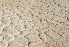 Rachado seco e endurecido lakebed no deserto Imagens de Stock