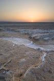 Rachaduras salgados em um lago dessecado - EL Djerid de Chott Foto de Stock