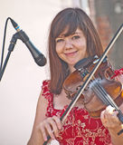 Rachel Campbell of the band Seirm. Playing the fiddle  at Stock Photography