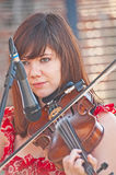 Rachel Campbell of the band Seirm. Playing the fiddle  at Royalty Free Stock Photos
