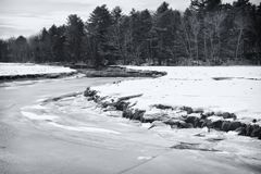 Rachel Carson National wildlife refuge winter landscape. A black and white picture of a frozen river within Rachel Carson National Wildlife Refuge in Wells stock photos
