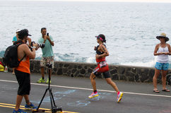 Rachel Joyce. 3rd place finisher for Ironman World Championship in Kailua Kona, HI. 10K mark for the marathon Royalty Free Stock Image