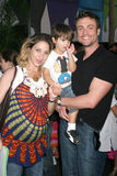 "Rachel Marcus,Daniel Goddard. Rachel Marcus, Daniel Goddard & their son Ford  Goddard arriving at the DVD Launch of ""Tinkerbell"" at he El Capitan Theater in Royalty Free Stock Photo"