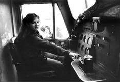 Rachel Sweet. U.S. pop singer, at the controls of a diesel locomotive in Edinburgh, Scotland on October 27, 1978 Stock Images
