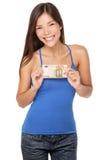 Rachunek euro kobieta Zdjęcie Stock