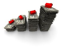 rachunków dolara domu sto siedząca sterta Fotografia Stock