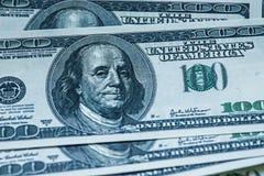 100 rachunków dolarowy pieniądze stos Fotografia Royalty Free