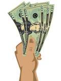 rachunków dolarowy ręki mienie Fotografia Royalty Free