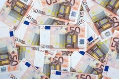 rachunków euro pięćdziesiąt papier Obraz Royalty Free