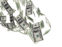 100 rachunków spadać pieniądze Fotografia Royalty Free
