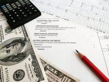 rachunków sprawdzać medyczny Obrazy Stock
