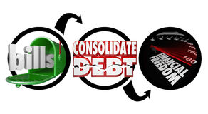 Rachunki Konsolidują dług Pieniężny wolność diagram Zmniejsza pieniądze Ow ilustracji