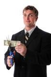 rachunku biznesmena tnący dolarowy nieszczęśliwy Obrazy Royalty Free