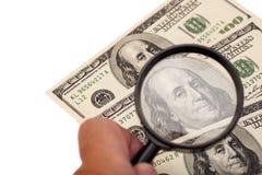 rachunku dolarowy szklany ręk target1514_0_ widzii my używać Zdjęcie Royalty Free