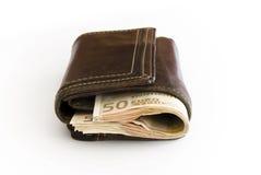 rachunku portfel euro rzemienny Zdjęcie Stock