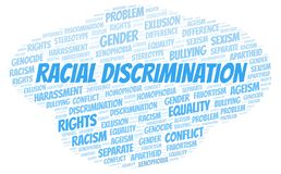 Racial Discrimination - type of discrimination - word cloud. Wordcloud made with text only royalty free illustration