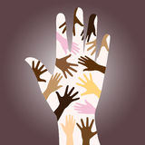 Racial diverse hands. Vectors illustration of colorful multi-racial hands on brown background symbolizing human racial unity, help, support, freedom, friendship Royalty Free Illustration