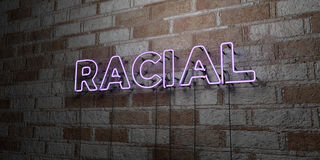 RACIAL - Glowing Neon Sign on stonework wall - 3D rendered royalty free stock illustration. Can be used for online banner ads and direct mailers royalty free illustration