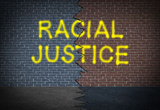 Racial Justice. And fighting discrimination concept and race relations social issue symbol as graffiti writing on a two toned brick wall as an icon of working vector illustration
