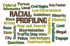 Racial Profiling. Word cloud on white background stock image