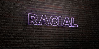 RACIAL -Realistic Neon Sign on Brick Wall background - 3D rendered royalty free stock image. Can be used for online banner ads and direct mailers vector illustration