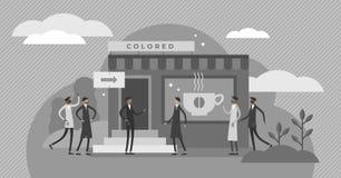 Racial segregation vector illustration. Flat tiny diversity persons concept. Racial segregation vector illustration. BW flat tiny skin color diversity persons stock illustration