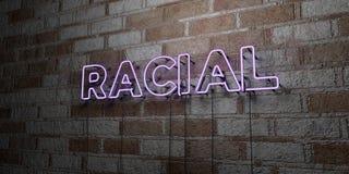 RACIAL - Sinal de néon de incandescência na parede da alvenaria - 3D rendeu a ilustração conservada em estoque livre dos direitos ilustração royalty free