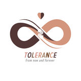 Racial Tolerance conceptual symbol, Martin Luther King Day, Zero. Tolerance, vector symbol created with infinity loop sign and two hands of people of different vector illustration