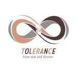 Racial Tolerance between different Nations conceptual symbol, Ma. Rtin Luther King Day, Zero tolerance, vector symbol created with infinity loop sign and two vector illustration
