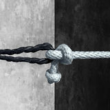Racial Unity. Concept as a symbol against racism in society as a white and black rope tied together as a metaphor for friendship and respect stock illustration