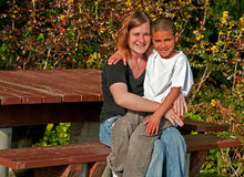 Racially Mixed Mother and Son Stock Photo