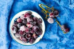 Racimo congelado de las uvas en el cuenco Fotografía de archivo