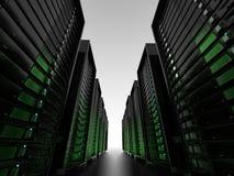 Racimos de servidor con el wireframe Imagen de archivo libre de regalías