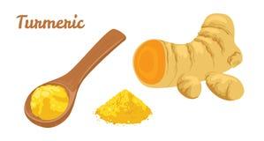 Racine de safran des indes, cuillère en bois avec la poudre jaune d'isolement sur le fond blanc illustration libre de droits
