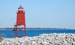 Racine Lighthouse Tower. Racine breakwater lighthouse in Wisconsin stock photography