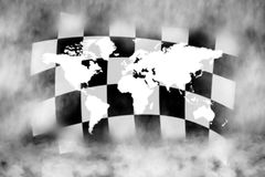 Racing. Chechered race flag and world in the smoke Royalty Free Stock Photography