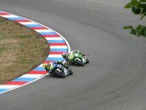 Racing Between 2 Men Riding Motorcycle Royalty Free Stock Photo