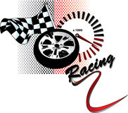 Racing. Illustration with flag, rim and tachometer (vector Stock Photo