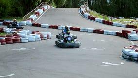 Racing aka karting attraction in Kiev, Ukraine, stock video