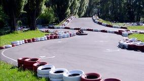 Racing aka karting attraction in Kiev, Ukraine, stock footage